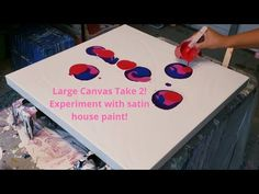 I am doing a large blowdryer pour again, I am loving this acrylic pouring, fluid art fun. This time I wanted to experiment with satin house paint as suggeste. Best Paint For Canvas, Modern Art, Large Scale Artwork, Florida Artist, Large Canvas, Art, Cool Paintings, Acrylic Pouring, Youtube Art