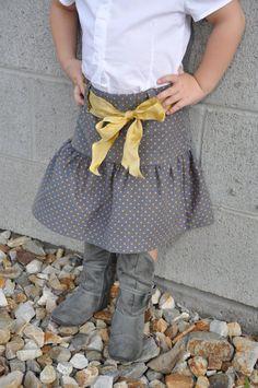 mustard belt, ruffl gray, corduroy skirt