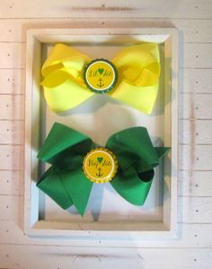 Big sis/little sis sorority hair bow set in #Baylor green and gold. #SicEm