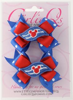 Disney Cruise Line DCL Pigtail Ponytail Hair Bow Hair by GirlieQs, $8.50