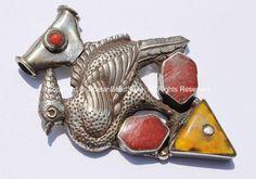 Large Tibetan Peacock Pendant with Coral & Amber Inlays - Handmade Repousse Tibetan Silver Peacock Tibetan Amulet Pendant - WM5413