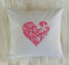 Heart Pillow Cover  Embroidered Heart Pillow by LucyLynDesigns