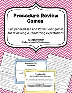 Procedure Review Games: Reinforce expectations w/ paper-based and PowerPoint…