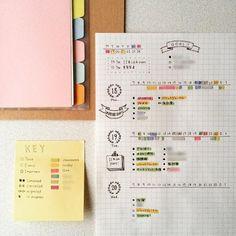 bullet journal + highlighter colour code + grid paper + key