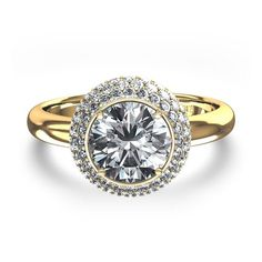 925 Sterling silver CZ Round solitaire halo Anastasia Inspired engagement ring #Solitaire