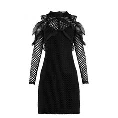 Self-Portrait Purl Knit Lace Cut-out Shoulder Dress (1,710 AED) ❤ liked on Polyvore featuring dresses, lace dress, lace mini dress, long sleeve lace dress, long-sleeve mini dresses and lace-sleeve dresses