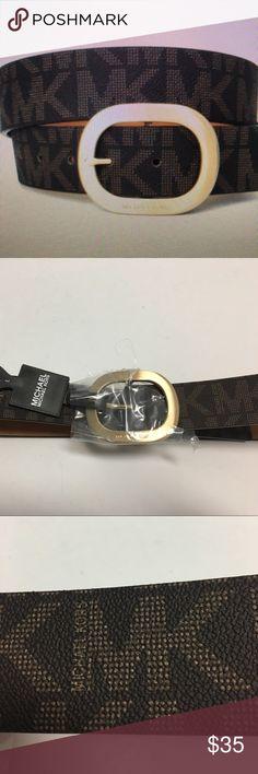 NWT MICHAEL KORS LOGO BELT GOLD HARDWARE Beautiful Michael Kors Brown belt with gold tone hardware with the Michael Kors name on  buckle MICHAEL Michael Kors Accessories Belts
