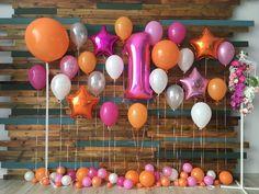 31 ideas birthday girl balloons decoration for 2019 Balloon Backdrop, Balloon Wall, Helium Balloons, Simple Birthday Decorations, Ballon Decorations, 1st Birthday Girls, 1st Birthday Parties, Birthday Photos, Birthday Balloons
