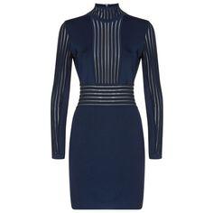Balmain Sheer Panel Dress (116,570 DOP) ❤ liked on Polyvore featuring dresses, blue dress, slimming dresses, balmain dress, figure hugging dress and balmain
