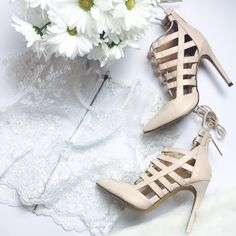 """Nude Lace-Up Heels Excellent condition. Worn once. Faux leather. Heel height: 4.5"""". NO TRADES/PAYPAL. GoJane Shoes Sandals"""