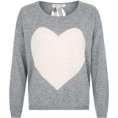 Grey Angora Mix Heart Intarsia Keyhole Back Jumper
