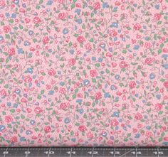 Sweet Pink, Blue and Green Floral on a Light Pink Background from Marshall Dry Goods, Calico, MDGCountry-Pink01 by fabric406 on Etsy