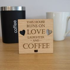 This House Runs on Love Laughter and Coffee – Personalised Oak Wooden Sign - Pretty Personalised