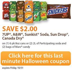 Here's some last minute #ScarySavings with this Printable candy and soda coupon  #ExtremeCouponing #Coupons #shop #Cbias Visit us at http://www.thecouponingcouple.com for more great posts!
