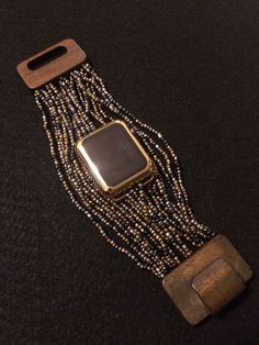 "Apple Watch Band Bracelet ""Beaded Boho"" Band Large Wooden Clasp 38 mm 42mm…"