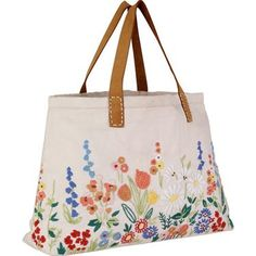 This washed cotton bag features beautifully detailed hand embroidered Meadow Border, with stylish leather straps, making this the perfect choice for a relaxed summer day bag.