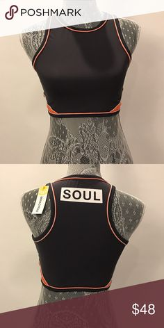SoulCycle Crop Sports Bra NWT! Contrast Piping Crop Top, Sports Bra style top. For any exercise Soulcycle Tops Crop Tops