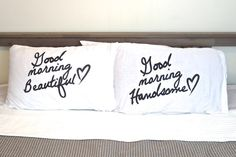 "Valentines day couple pillow couple set of 2 pillow cases "" Beautiful and Handsome ""  pillow set perfect couple gift wedding housewarming on Etsy, $25.00"