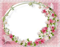 Pink Floral Flower Border | Flower Frame on Calming Pink Background - PNG Frame