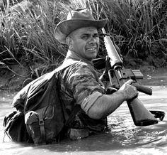 Master Sgt. Wayne Whightsil on patrol in South Vietnam, 1964. ~ Vietnam War