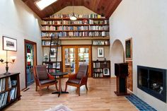 In a room with high ceilings, the space above the door is perfect for displaying books