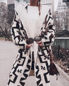try a printed coat, cinch it at the waist with a vintage buckle. love