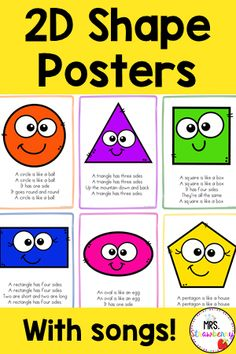 These bright and colorful 2D Shape Posters with accompanying songs will be a hit in your classroom. When teaching about 2D shapes and their attributes, songs help children learn and remember. Sing these songs to the tune of The Farmer in the Dell and learn all about the sides and corners of each shape. These printable posters can also be reduced in size to make great flashcards for 2D shape activities. PreK, Preschool and Kindergarten students will love to sing along to these catchy shape… 2d Shapes Activities, Learning Shapes, Phonics Activities, Student Learning, Kids Learning, Properties Of 2d Shapes, Under Construction Theme, Shapes Flashcards, Shape Songs