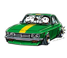 """crazy car art"" jdm japanese old school ""SILVIA CSP311"" original characters ""mame mame rock"" / © ozizo Official web shop ""STAY CRAZY (in Society6)"" Official web shop ""ozizo(in Redbubble)"" ""Crazy Car Art"" Line stickers ""Crazy car Art"" Telegram..."