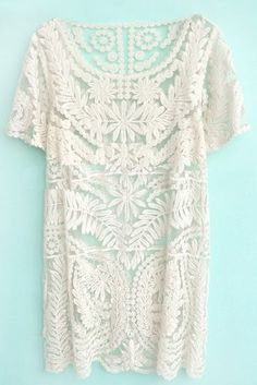 Beige Short Sleeve Embroidery Sheer Lace Dress pictures
