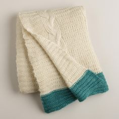 Ivory Luxe Knit Throw with Teal Border   World Market
