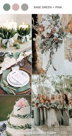 10 Perfect Shades of Green Wedding Color Ideas for Spring/Su.- 10 Perfect Shades of Green Wedding Color Ideas for Spring/Summer 2019 sage green and pink wedding color ideas for spring 2019 - Perfect Wedding, Dream Wedding, Wedding Day, Casual Wedding, Spring Wedding Themes, Wedding Summer, Green Spring Wedding, Wedding Mood Board, Spring Weddings