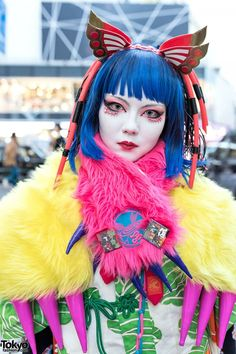 March 2015: Bazookistan, Minori, and Elizabeth are three members of Japan's shironuri subculture who are well-known around Harajuku.