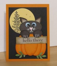 Sweet Halloween Kitty In A Pumpkin Card...with googly eyes...by Shelly: StampSorority-AugustSwap7.