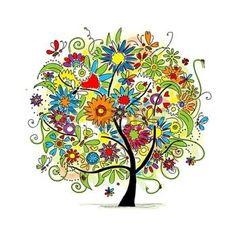 fleur peinture: Croquis de l'arbre floral pour la conception de votre