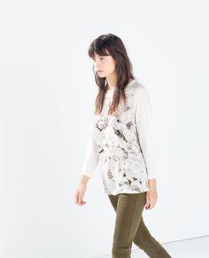 MIXED PRINT LINEN T-SHIRT from Zara