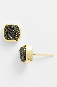 Square Drusy Stud Earrings.
