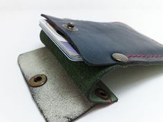 Handmade beige and dark blue genuine leather Wallet / by TIZART, $18.00