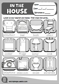 In the house - picture dictionary Primary English, Kids English, English Study, English Lessons, Learn English, Learning English For Kids, English Teaching Resources, English Activities, Learning Spanish