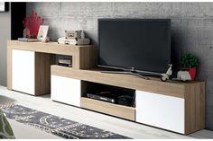 Compra al mejor precio esta mesa de TV longitud variable color roble con 3 puertas color blanco 2450-3130x398x770mm. #mke #mueblekitespaña #mesa #tv #logan #madeinspain #fabricadoenespaña