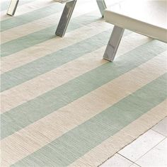 Wide Stripe Flat Weave Cotton Rug: $218 for the 6' x 9' spa blue and ivory rug