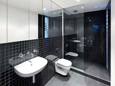 Masculine Modern Small Walk In Bathroom Designs Pictures With Big Mirror And Unique Tile  / Bathroom Beautiful Modern Small Bathroom Designs...