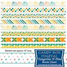 Tangerine N Pine Geometric Ribbon Border by CandyBoxDigital. These bright and cheery tangerine and pine colors are so happy, great for your scrapbooks, journals, invitations, cards, newsletters, as website dividers, etc...  In our Etsy shop.