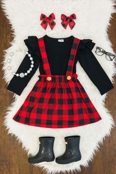 Red & Black Plaid Suspender Skirt Set - Sparkle In Pink Baby Outfits, Cute Outfits For Kids, Toddler Outfits, Dress Outfits, Dress Clothes, Baby Girl Fashion, Toddler Fashion, Kids Fashion, Girls Christmas Outfits