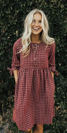 #fall #outfits brown and white checked button-up long-sleeved blouse