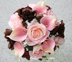 Lush Pink and Brown Wedding Flowers
