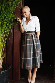 Amber Rose and ASOS Full Midi Skirt in Oversized Heritage Check With Belt Photograph