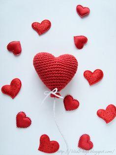 вязаное сердечко крючком, описание вязаного сердечка, сердце, вязаное сердце, подарок на день святого валентина, описание сердечка, воздушный шарик крючком, описание, объемное сердечко крючком