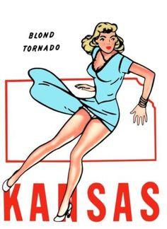 Kansas Pin Up Girl Vintage, Vintage Words, Vintage Maps, Vintage Travel, Pin Up Posters, Girl Posters, Travel Posters, Rose Shop, Retro Lingerie