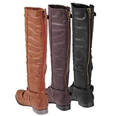 @Overstock - Make a bold statement with these knee-high back-zip boots. Made from faux leather, these women's boots feature a round toe, strap and buckle detailing, and a padded insole for added comfort. Choose from black, brown, or camel to match your wardrobe.http://www.overstock.com/Clothing-Shoes/Glaze-by-Adi-Womens-Tall-Back-zip-Boots/5171479/product.html?CID=214117 $51.99