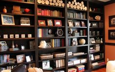 Classic Wall Bookshelves Filled With Wood Decoration Unique Ornaments Books And Awesome Family Photos Extraordinary Ideas to Ornament your Bookshelves for your Interior Design Furniture